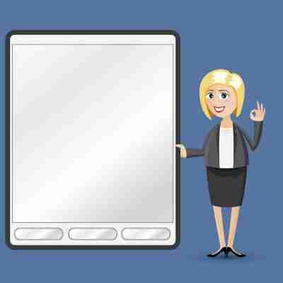 Cartoon Businesswoman With Tablet